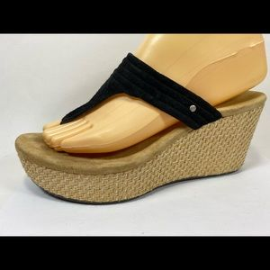 Ugg Zamora Black Suede Wedge Flip Flops 7.5/38.5M